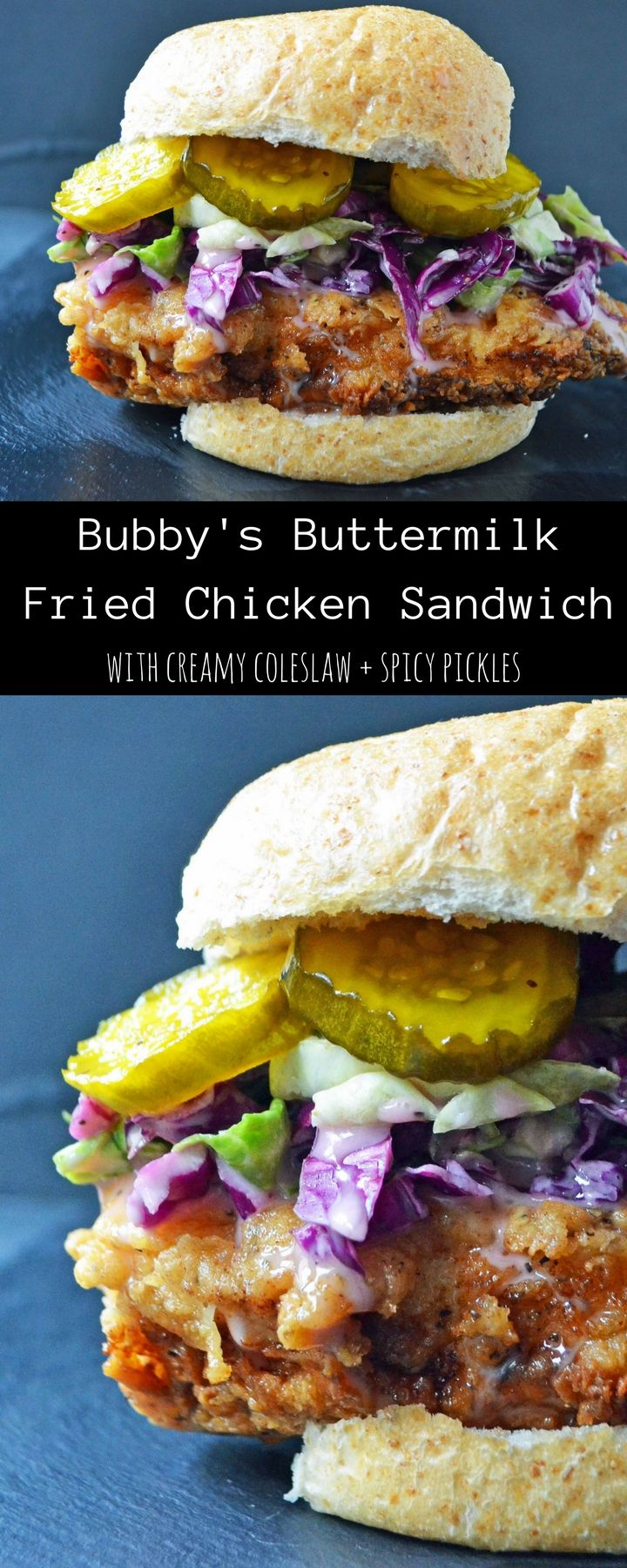 Bubby's Buttermilk Fried Chicken Sandwich with Creamy Coleslaw and Spicy  Pickles. Plus all of the secrets to making perfect fried chicken every single time.