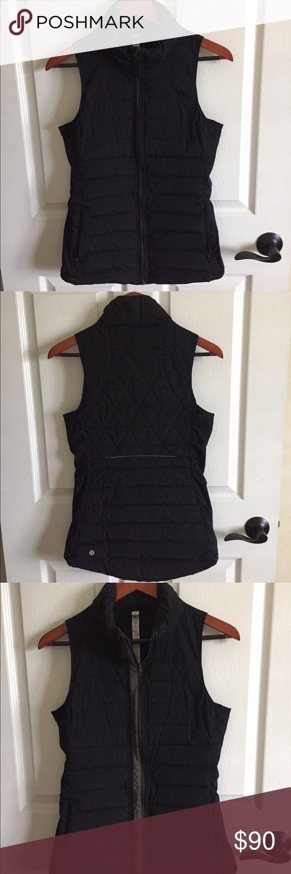 Lululemon black vest sz 6 Black lululemon vest in sz 6 with reflection. Like new. lululemon athletica Jackets & Coats Vests