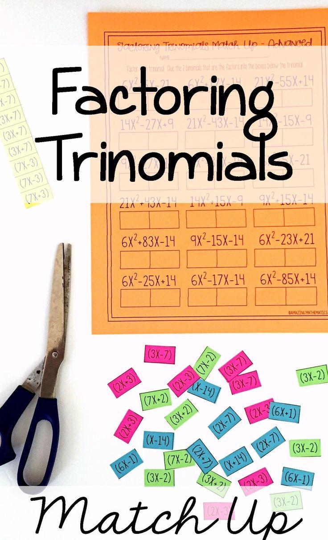Factoring Polynomials (Trinomials) Activity Advanced