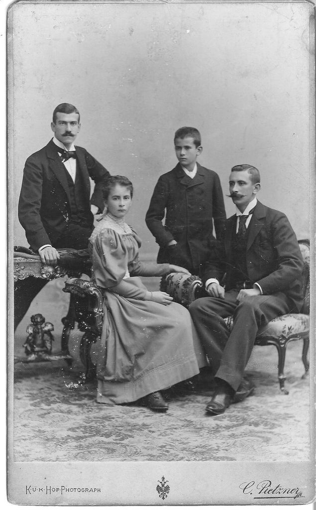 "https://flic.kr/p/5sPAjJ | Viennese family, November 1895 | Siblings/Geschwister?  About 8.5""x5"" photograph on thick card, taken in Vienna in 1895. Reverse side: Carl Pietzner, K.u.K. Hofphotograph WIEN VI. Mariahilferstr.3 ""Pietzner-Haus""  The young men's names are Rudolf, Carl and Paul.  The girl's name is Speranza :) --- <a href=""http://www.flickr.com/groups/oldletters/"">www.flickr.com/groups/oldletters/</a>"