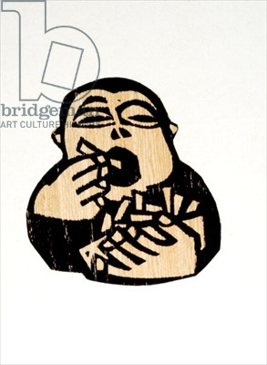 Wee Chip by Willie Rodger. Linocut
