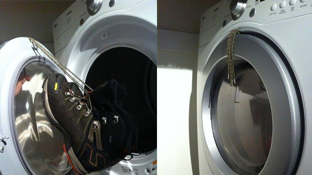 Hang Shoes from the Dryer Door to Keep them from Making Noise While DryingTies Shoes, The Doors, Cleaning, Places Shoessneak, Shoes Tumbling, Hanging Shoes, Dryer Doors, Dry Shoes, Tennis Shoes