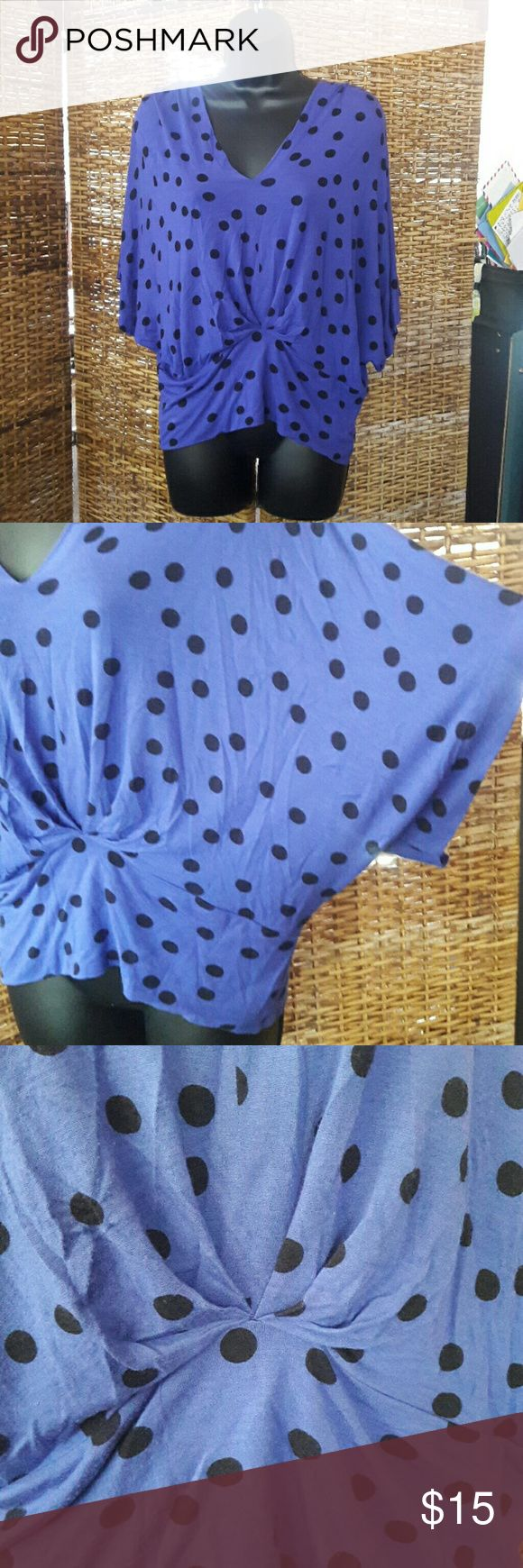 Blue & Black Polka Dot Batwing Top, ModRetro sz XS Sized XS, but I'm a size 10 (M/L) and it fits me just fine. Roomy cut that cinches in just under bosom. Modern does retro style, super soft, stretchy t-shirt material. Made by Pleione, looks similar to styles sold by Modcloth & other retro clothing retailers. No imperfections, I just don't wear it that much & it's a really cool piece. Hits just at waist, so perfect to pair with pencil skirts or tulip skirts! Pleione Tops Blouses