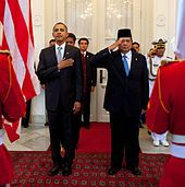 President of Indonesia Susilo Bambang Yudhoyono with Barack Obama, the President of United States, in ceremony at the Istana Merdeka in Jakarta, 9 November 2010. Obama has become popular in Indonesia due to the years he spent in Jakarta as a child.