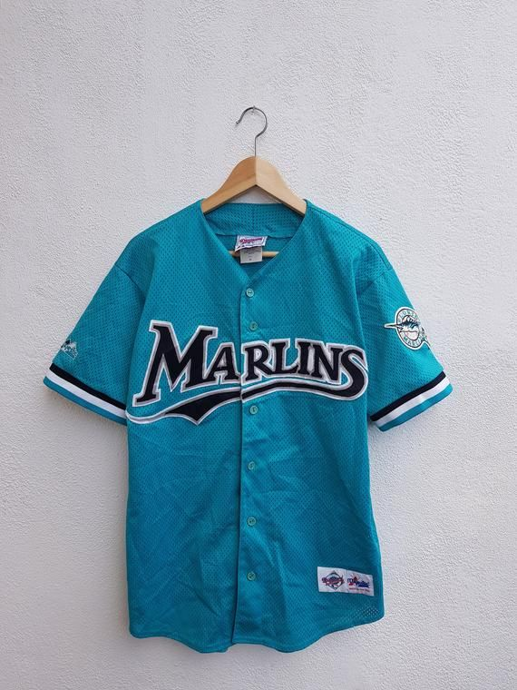 06e0dc505 Vintage 90s Miami Marlins MLB Baseball Embroidered Logo Majestic Diamond  Collection Nets Jersey Shirt Size M