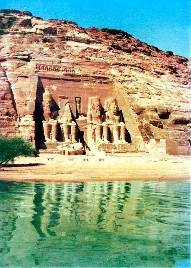 Temple of Abu Simbel at it's original location before it was moved to the top of that rock hill in the 1960s to save it from flooding when the Aswan Dam was built.
