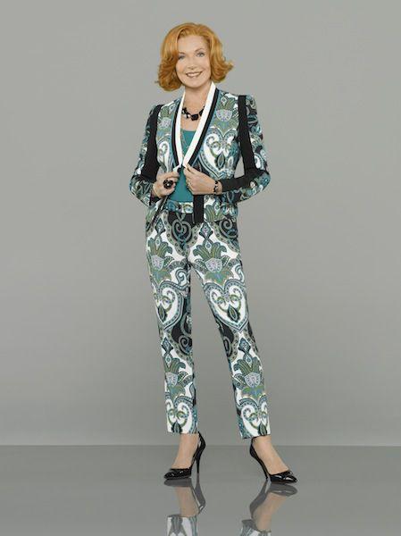 Susan Sullivan-  Castle Season 6. Martha's wardrobe is one after my own heart.