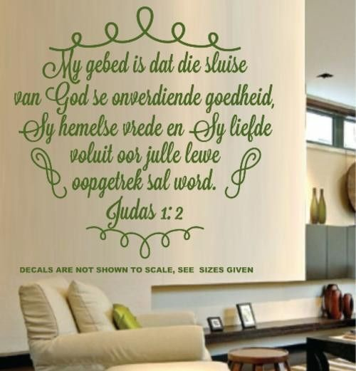 BYBEL VERS JUDAS 1:2 (AFRIKAANS) INSPIRATIONAL BIBLE VERSE WALL ART STICKER EXTRA LARGE VINYL DECAL – Vinyl Lady Decals