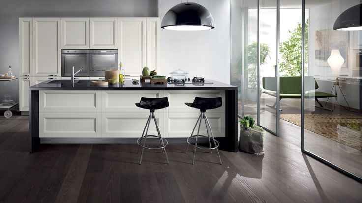 Esprit with Pure White Tactile Firwood (the counter and cupboard doors) and Grey Stone Okite | Revuu