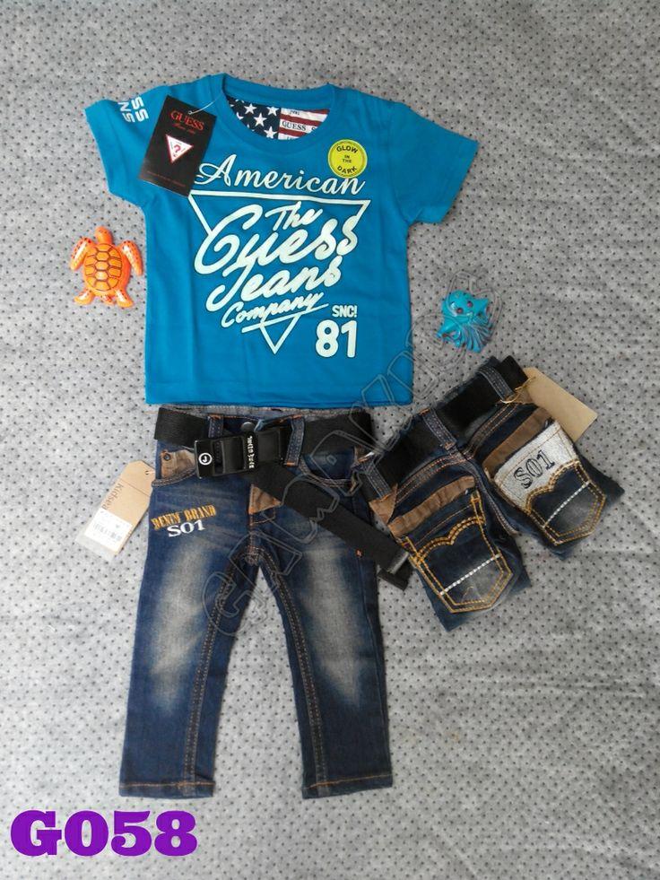 T-shirt Guess baby set (glow in the dark), jeans, belt (G058) Biru || Size 2-12 bulan || IDR 125.000