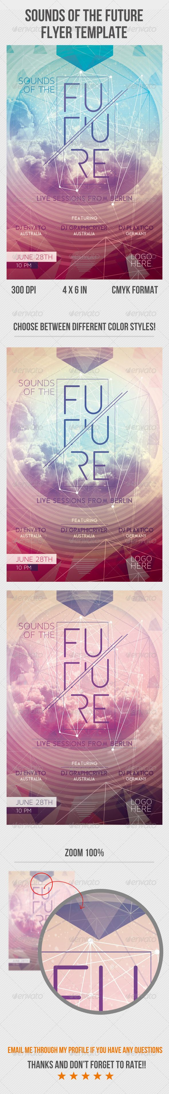 Sounds Of The Future. Print-templates Flyers. Tagged as abstract, alternative, club flyer, club night, concert, dance, disco fever, disco night, dj, drum & bass, dubstep, electro, electronic, futuristic, futuristic flyer, galaxy, gig, house, lightning, low poly, minimal, music, original, party flyer, retro, space, summer, techno, trance, and vintage.