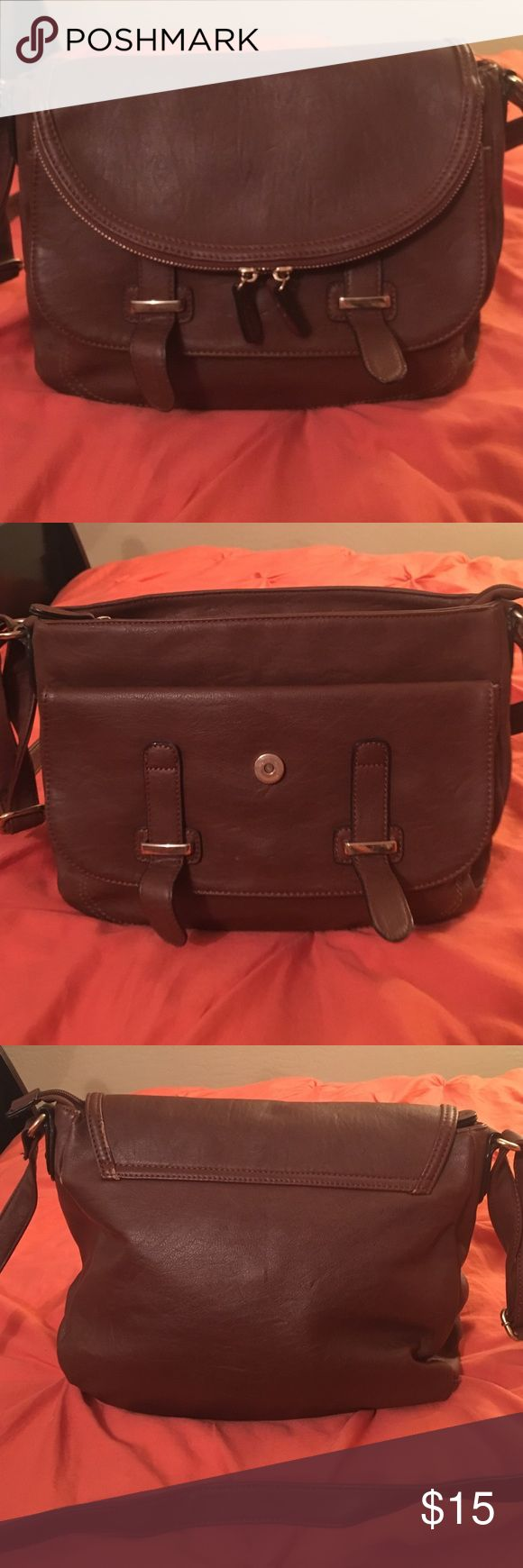 Brown ALDO crossbody bag Brown leather ALDO crossbody bag. Great condition on outside, dirty on side near zipper, mostly pencil from my school work. Aldo Bags Crossbody Bags