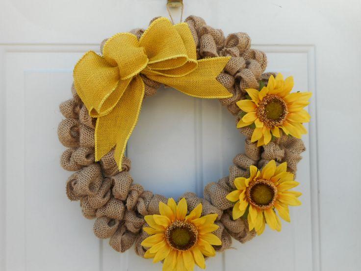 Country wreath, burlap wreath, Sunflower wreath, Sunflower decor Sunflower door decor Rustic Wreath, Rustic burlap wreath Ready to ship by ChloesCraftCloset on Etsy (null)