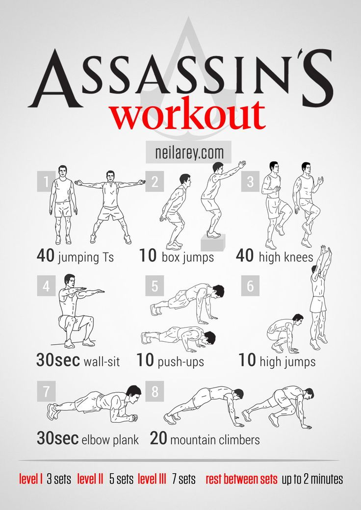 Assassins need to bring every muscle they have into play. No assassin workout could then be complete without a mix of isometric and ballisti...