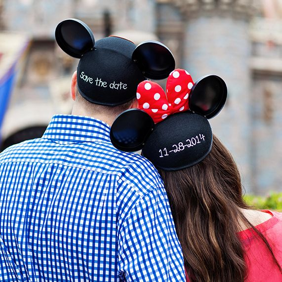 Embroidered Mickey Mouse and Minnie Mouse ear hats are a cute Disney inspired way to make sure your guests save the date