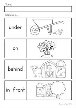 Worksheets On Positional Words For Pre K: 17 Best images about Position on Pinterest   Types of bugs    ,