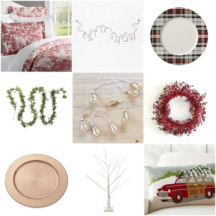 toile bedding, let it snow garland, plaid plate, garland, mercury lights, cranberry wreath, copper charger, birch twig tree, holiday pillow