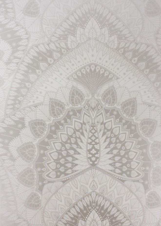 """Silver Azari Wallpaper - Wallpaper - Matthew Williamson. """"I never tire of the peacock's majestic, symmetrical beauty. I wanted to capture its essence but in a fresh new way so set about a graphic repeat pattern using solid blocks of colour and treating the design as if it were a fine, intricately-woven lace."""""""
