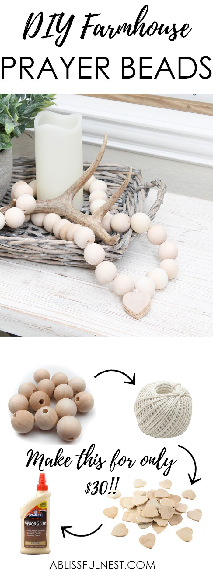 I can not believe how expensive prayer beads normally are! This DIY farmhouse wood prayer beads tutorial is so easy to make and only cost $30. What an amazing and easy DIY Farmhouse decor project! See more on http://ablissfulnest.com/ #farmhousedecor #farmhousestyle