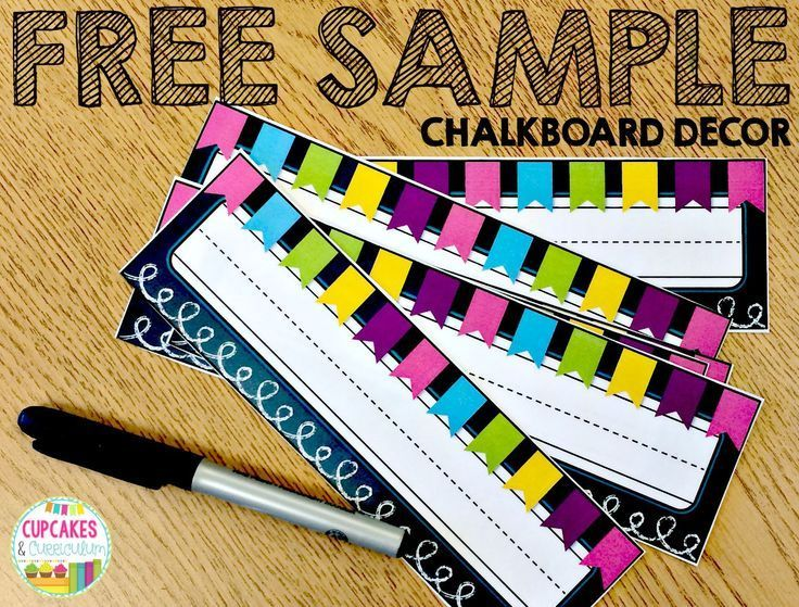 FREE SAMPLE of Chalkboard Decor including STUDENT NUMBERS & DESK TAGS! [Cupcakes & Curriculum]