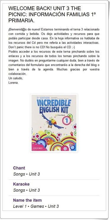 """Unidad 3 de Inglés de 1º de  Primaria: """"The picnic"""""""