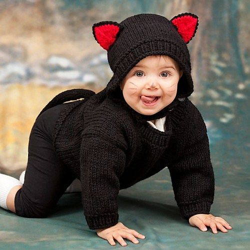 Free Knitting Pattern for Baby Black Cat Costume - Mary Jane Protus designed this adorable hat and sweater set for babies 6 months, 12 months, 18 months, 24 months.