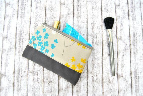 Make up case for purse zipper mini toiletry bag case  grey