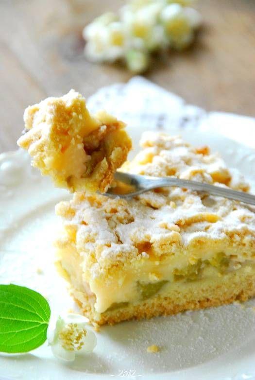 Kruche ciasto z rabarbarem i budyniem | Słodkie Przepisy Kulinarne