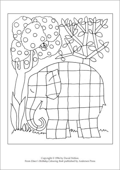 Colour a patchwork Elmer!