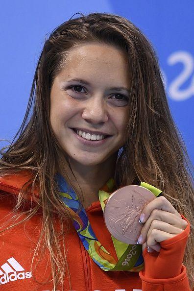 Hungary's Boglarka Kapas poses with her bronze medal on the podium of the…