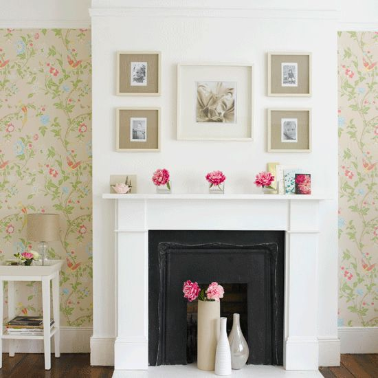 Family pics above fireplace?