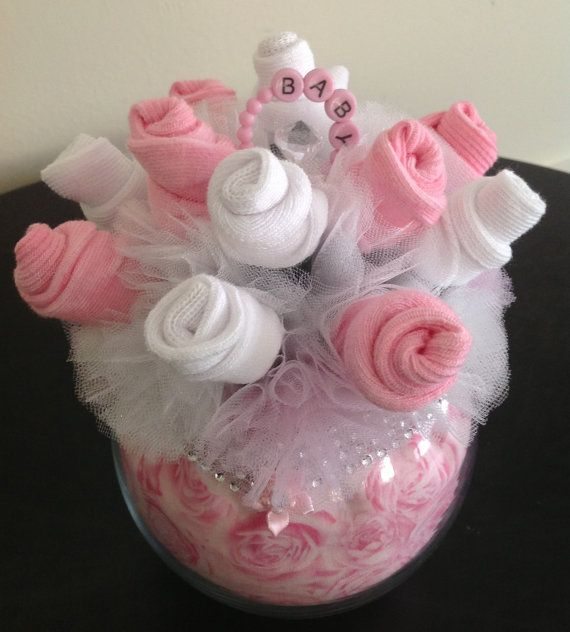 Baby Sock Bouquet Burp Cloth Cake 2Tier Pink by JustBabyBoutique - so sweet! Great to take to the hospital instead of real flowers.. these ones don't need to be watered and it can be taken apart later and the burp cloth and socks used for the baby!