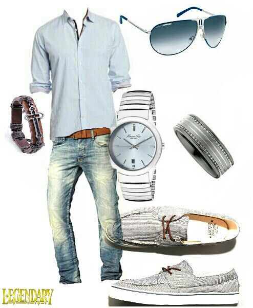 Men's jeans and button up casual weekend outfit
