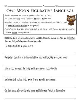 OWL MOON: FIGURATIVE LANGUAGE - TeachersPayTeachers.com