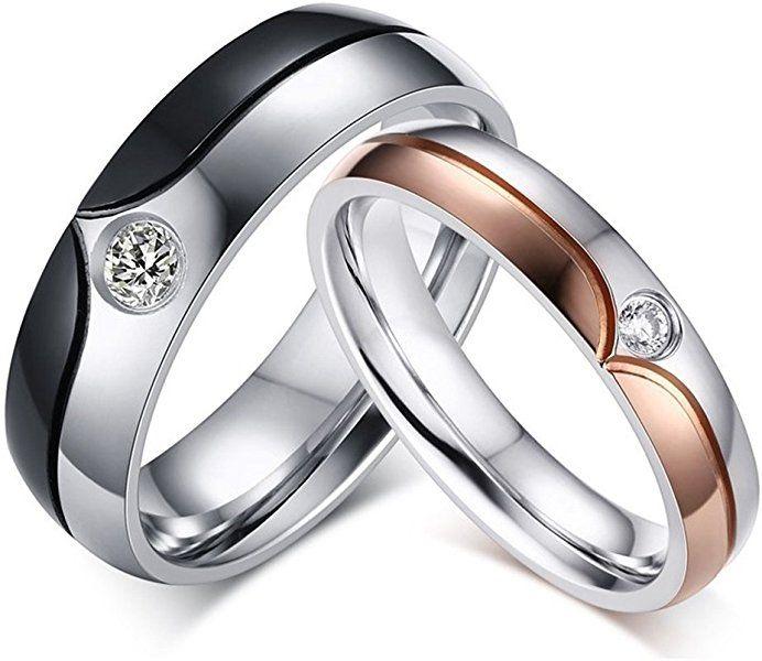 Amazon Com Ginbl 6mm Men Stainless Steel Cubic Zirconia Couples Wedding Rings 4mm Women En Stainless Steel Wedding Ring Black Wedding Rings Steel Wedding Ring