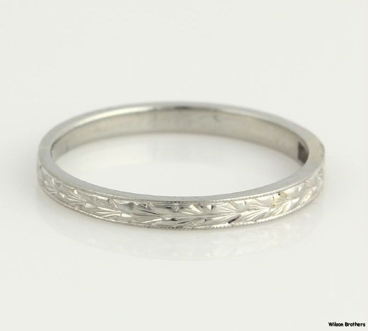 Vintage High Karat Womens Wedding Band 18k White Gold Wheat Milgrain c 1920