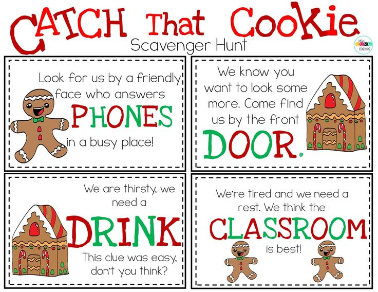Students go on a scavenger hunt after reading the story Catch That Cookie.