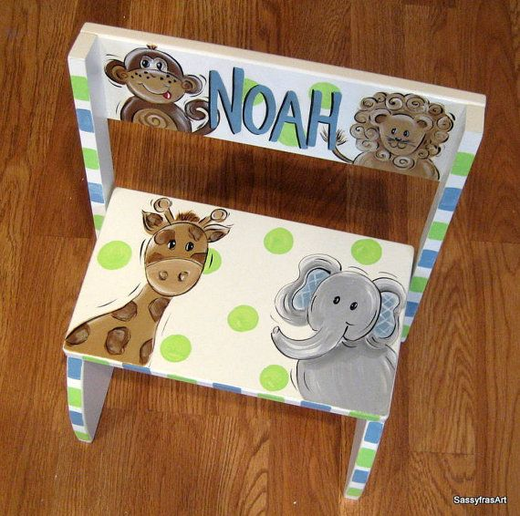 Jungle Animal Flip Style Step Stool - Many different styles and designs available; all of which are amazing! $49.99 Able to be personalized!