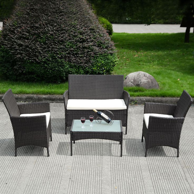 4 PC Patio Rattan Wicker Chair Sofa Table Set Outdoor Garden Furniture  Cushioned. 25  best ideas about Cheap Rattan Garden Furniture on Pinterest