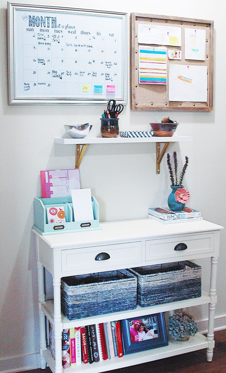 This post outlines all of the things you need to get organized and create a family command center. You need a desk, baskets, calendar, shelf, bulletin board