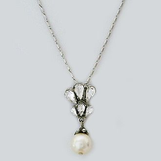 Ben-Amun Crystal & Pearly Y-Drop Necklace MuqZ9mXb