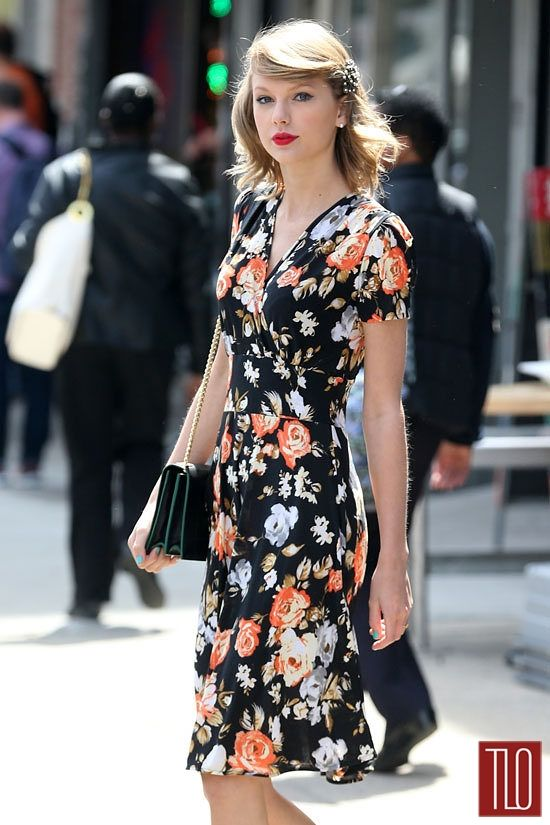 Taylor Swift in New York City in a Modcloth 'One Floral, All for One' dress
