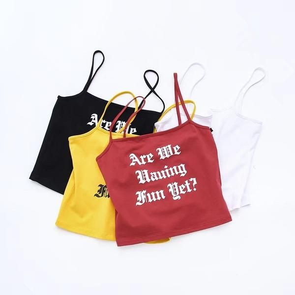 4 Colors 2017 Summer Women Yellow Solid Cotton Short Camisole Ladies Red Casual Sexy Petite Underwear Female Black Clothing Tops