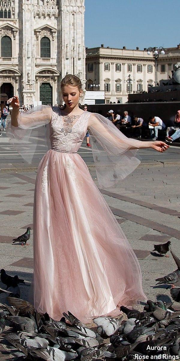 Vintage Fairy Blush Long Sleeves Wedding Dress Leya Colored