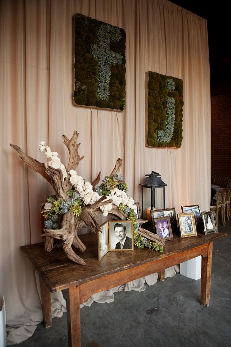 rustic wedding table succulent - Google Search