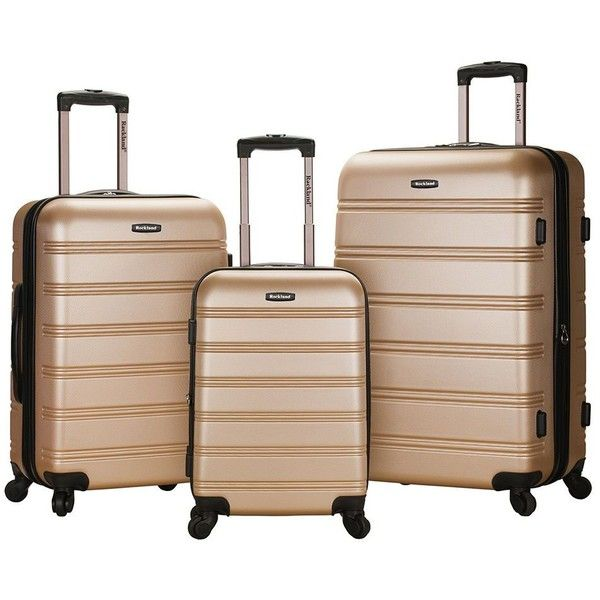Rockland Luggage, Melbourne 3-pc. Expandable Hardside Spinner Luggage... ($300) ❤ liked on Polyvore featuring bags, luggage and champagne