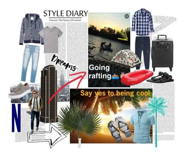 """Itineraries 2 men ⛵️"" by katherine-chocolate on Polyvore featuring Oris, 7 For All Mankind, Banana Republic, Acne Studios, Vince, Doublju, Havaianas, Teva, MCM and French Connection"