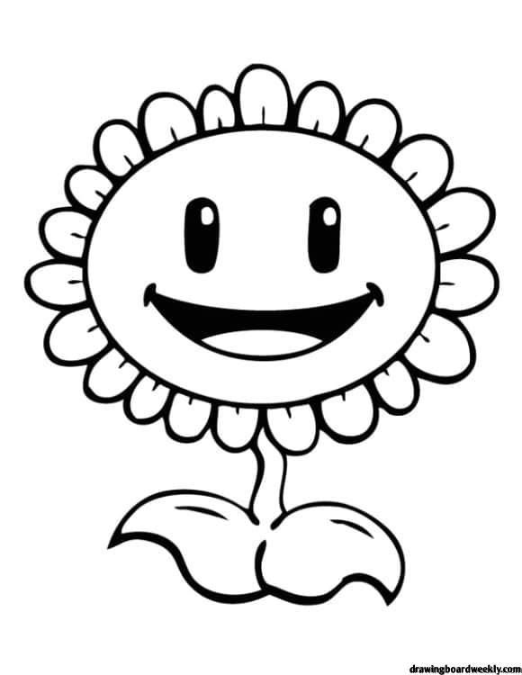 Plant Vs Zombie Coloring Page Sunflower Coloring Pages, Plants Vs Zombies  Birthday Party, Plants Vs Zombies