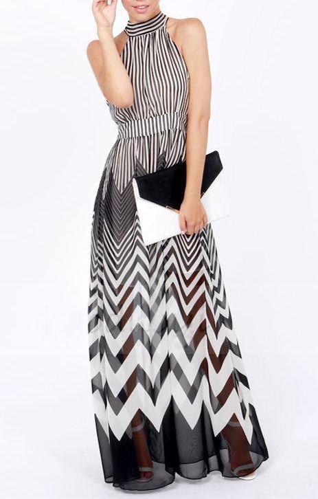 Black + White Wave Stripes Printing Halterneck Chiffon Maxi Party Dress! #Black #White #Zig_Zag #Party #Maxi #Dress #Fashion