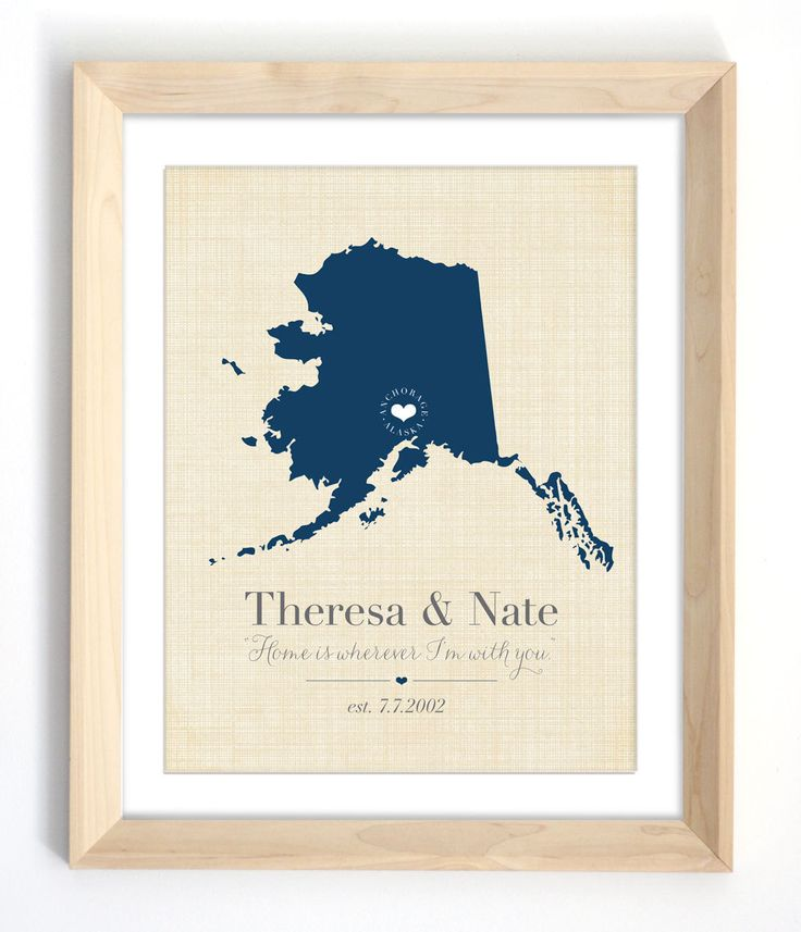 Alaska Map Print - Personalized Wall Decor - Alaska or Your Choice of City, State and Colors. $24.00, via Etsy.